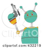 Royalty Free RF Clipart Illustration Of A Springy Green Robot Holding A Gun