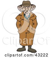 Clipart Illustration Of A Happy Man Wearing A Trench Coat