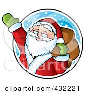 Royalty Free RF Clipart Illustration Of Santa Waving In A Snowy Circle