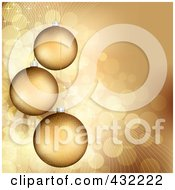 Golden Christmas Background With Three Baubles Over Sparkly Gold