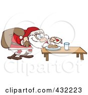 Royalty Free RF Clipart Illustration Of Cookies And Milk Set Out For A Santa Snack by gnurf