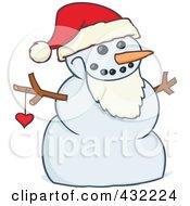 Santa Snowman Wearing A Beard And Santa Hat