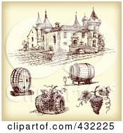 Royalty Free RF Clipart Illustration Of A Digital Collage Of Winery Items With A Vineyard On Sepia 2