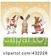 Royalty Free RF Clipart Illustration Of A Sketched Snowman Reindeer And Bear Above A Merry Christmas Greeting On Sepia With Snowflakes