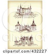 Royalty Free RF Clipart Illustration Of A Digital Collage Of Three Chateaus On Sepia by Eugene #COLLC432227-0054