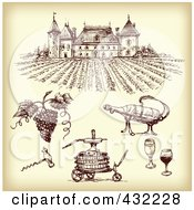 Royalty Free RF Clipart Illustration Of A Digital Collage Of Winery Items With A Vineyard On Sepia 1 by Eugene