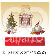Royalty Free RF Clipart Illustration Of A Sketched Santa By A Heart And Christmas Tree Above Merry Christmas Greeting On Sepia by Eugene