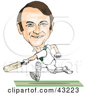 Male Caricature Playing Cricket