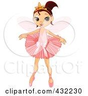 Royalty Free RF Clip Art Illustration Of A Pretty Brunette Fairy Ballerina Girl Gracefully Dancing by Pushkin