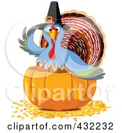 Royalty Free RF Clipart Illustration Of A Pilgrim Turkey In A Halved Pumpkin On Autumn Leaves