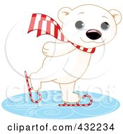 Royalty Free RF Clipart Illustration Of A Cute Polar Bear Ice Skating On Candy Cane Skates by Pushkin