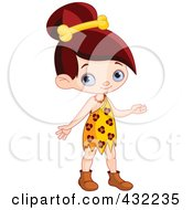 Royalty Free RF Clipart Illustration Of A Cute Cave Girl With A Bone In Her Hair by Pushkin