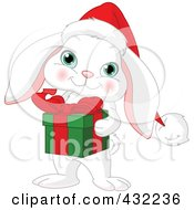 Royalty Free RF Clipart Illustration Of A Cute White Christmas Rabbit Holding A Gift