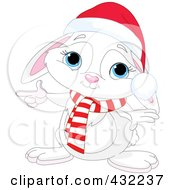 Royalty Free RF Clipart Illustration Of A Christmas Bunny Pointing To The Left