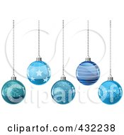 Royalty Free RF Clipart Illustration Of A Background Of Patterned Blue Glass Christmas Balls Suspended From Silver Chains