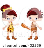 Digital Collage Of A Cute Cave Girl And Boy