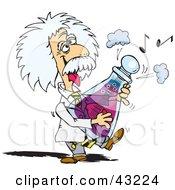 Albert Einstein Playing A Musical Flask