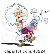 Clipart Illustration Of Albert Einstein Playing A Musical Flask by Dennis Holmes Designs