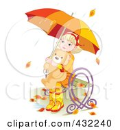 Blond Girl Sitting On A Bench In The Autumn Rain And Hugging A Teddy Bear