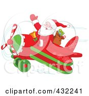Royalty Free RF Clipart Illustration Of Santa Waving And Holding A Bell While Flying A Biplane