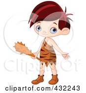 Royalty Free RF Clipart Illustration Of A Cute Cave Boy Holding A Club by Pushkin
