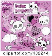 Royalty Free RF Clipart Illustration Of A Digital Collage Of Punk Princess Skulls And Comic Icons On Purple With Halftone by Pushkin