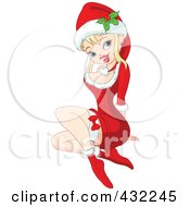 Blond Christmas Pinup Girl In A Santa Suit Dress