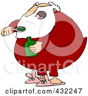 Royalty Free RF Clipart Illustration Of Santa Taking A Spoon Full Of Cough Syrup
