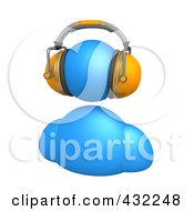 Royalty Free RF Clipart Illustration Of A 3d Blue Avatar Person Wearing Orange Headphones