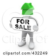 Royalty Free RF Clipart Illustration Of A 3d White Person With A Green House Head Holding A For Sale Sign by 3poD
