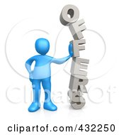 3d Blue Person Leaning Against The Stacked Word OFFERS