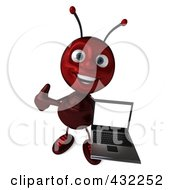 Royalty Free RF Clipart Illustration Of A 3d Ant Character Holding A Laptop Pose 2 by Julos