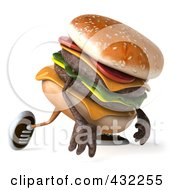 Royalty Free RF Clipart Illustration Of A 3d Hamburger Character Walking Right And Pouting by Julos