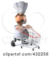 Royalty Free RF Clipart Illustration Of A 3d Chef Man Pushing A Shopping Cart To The Right by Julos