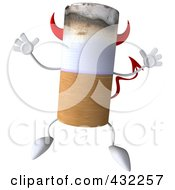 Royalty Free RF Clipart Illustration Of A 3d Devil Cigarette Character Jumping by Julos