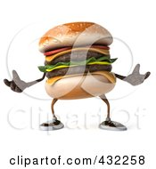 Royalty Free RF Clipart Illustration Of A 3d Hamburger Character Facing Front And Gesturing by Julos