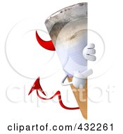 Royalty Free RF Clipart Illustration Of A 3d Devil Cigarette Character With A Blank Sign 2 by Julos