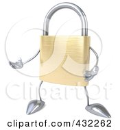 Royalty Free RF Clipart Illustration Of A 3d Padlock Character Facing Left And Gesturing by Julos