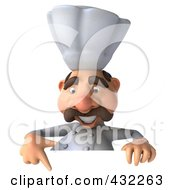 Royalty Free RF Clipart Illustration Of A 3d Chef Man Behind A Blank Sign Pointing Down