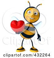 3d Bee Character Holding A Heart