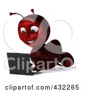 Royalty Free RF Clipart Illustration Of A 3d Ant Character Using A Laptop On The Floor Pose 2 by Julos