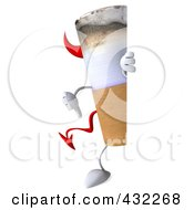 Royalty Free RF Clipart Illustration Of A 3d Devil Cigarette Character With A Blank Sign 3 by Julos