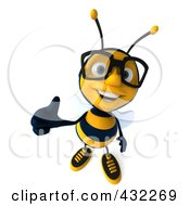 Royalty Free RF Clipart Illustration Of A 3d Bee Wearing Glasses And Holding A Thumb Up