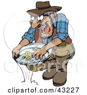 Clipart Illustration Of A Dirty Old Gold Miner Finding Nuggets In His Tray
