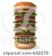 Royalty Free RF Clipart Illustration Of A 3d Huge Stacked Cheeseburger by Julos