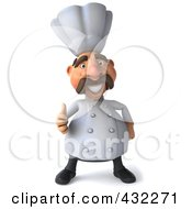 Royalty Free RF Clipart Illustration Of A 3d Chef Man Facing Front With A Thumb Up by Julos