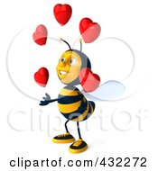 Royalty Free RF Clipart Illustration Of A 3d Bee Character Juggling Hearts 2