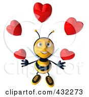 Royalty Free RF Clipart Illustration Of A 3d Bee Character Juggling Hearts 1