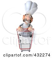 Royalty Free RF Clipart Illustration Of A 3d Chef Man Pushing A Shopping Cart Forward by Julos