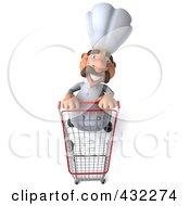 Royalty Free RF Clipart Illustration Of A 3d Chef Man Pushing A Shopping Cart Forward by Julos